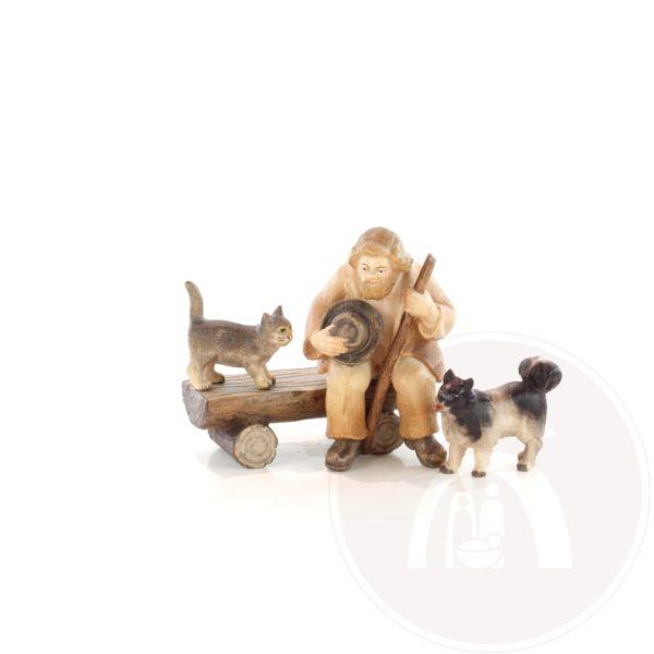 Herder op bankje met kat en hond (7953637162156)